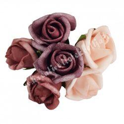 Betűzős rózsacsokor, rózsaszín-mályva-lila, 6 db/csokor