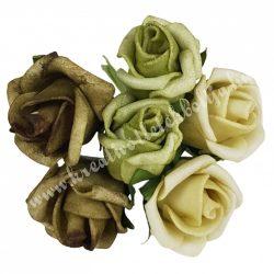 Betűzős rózsacsokor, zöld árnyalatok, 6 db/csokor