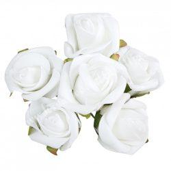 Betűzős, polifoam fehér rózsacsokor, levéllel, 6 db/csokor