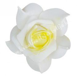 Polifoam rózsa 34., 6x5 cm, Krém-sárga középpel