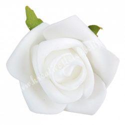 Polifoam rózsafej levéllel, fehér, 6 cm