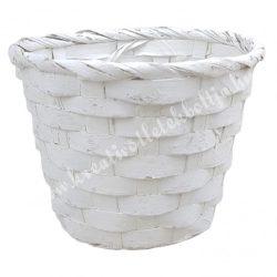 Bambusz kaspó, fehér, 15x12 cm