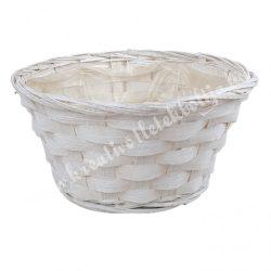 Bambusz tál, fehér, 20x10 cm