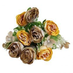 Angol rózsa csokor, napsárga-latte, kb. 32 cm