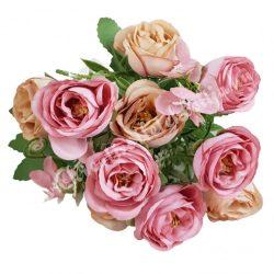 Angol rózsa csokor, rózsaszín-barack, kb. 32 cm