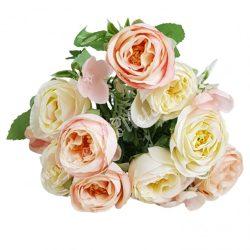 Angol rózsa csokor, világos rózsaszín-krém, kb. 32 cm