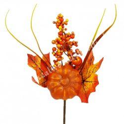 Beszúrós dísz, őszi pick bogyóval és kerek tökkel, 13x22 cm
