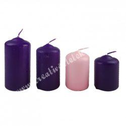 Adventi lépcsős gyertya szett, lila-rózsaszín, 4 cm, 4 db/szett
