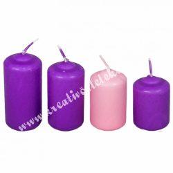 Adventi lépcsős gyertya szett, lila-rózsaszín, 5 cm, 4 db/szett