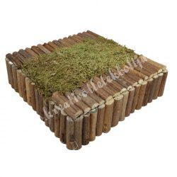 Kis kocka dekoralap akáckéreggel, mohával, natúr, 16x4,5 cm