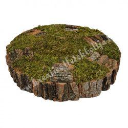 Közepes kerek dekoralap akáckéreggel, mohával, natúr, 25x5 cm
