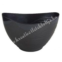 Műanyag csónak kaspó, féloldalt bordás, grafit szürke, 25x12 cm