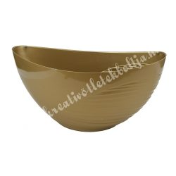 Műanyag csónak kaspó, féloldalt bordás, arany, 25x12 cm