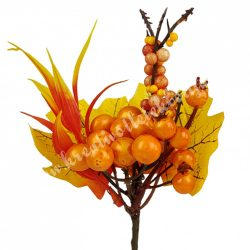 Beszúrós dísz, őszi pick bogyóval és levéllel, 12x19 cm