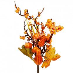 Beszúrós dísz, őszi pick bogyóval és hosszúkás tökkel, 14x26 cm