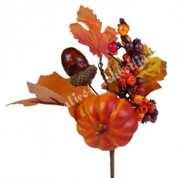 Beszúrós dísz, őszi pick tökkel és makkal, 11x18 cm