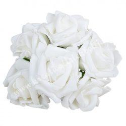 Betűzős polifoam rózsacsokor, fehér, kb. 13 cm, 6 szál/csokor