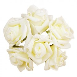 Betűzős polifoam rózsacsokor, krém, kb. 13 cm, 6 szál/csokor