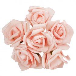 Betűzős polifoam rózsacsokor, rózsaszín, kb. 13 cm, 6 szál/csokor