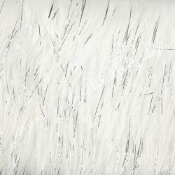 Hosszú szőrű műszőr, fehér, ezüst szálakkal, 190x10 cm