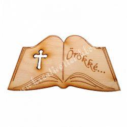 Nyitott könyv faforma, örökké felirattal, 8x4 cm