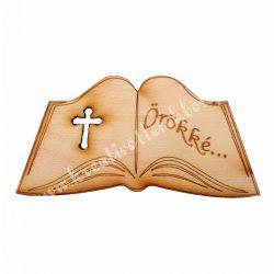 Nyitott könyv örökké felirattal, 8x4 cm