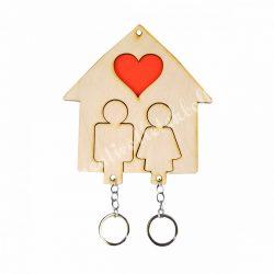 Páros kulcstartó házikóval, piros szívvel