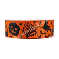 Halloween szalag11., narancssárga alapon boszik, kalapok, tökök, macskák, 2,5 cm