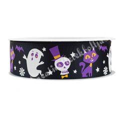 Halloween szalag 12., fekete alapon szellemek, koponyák, macskák, 2,5 cm