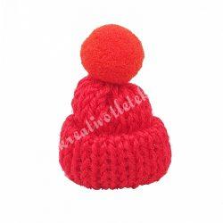 Mini kötött sapka pomponnal, piros