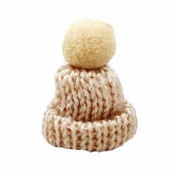 Mini kötött sapka pomponnal, világosbarna