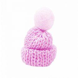 Mini kötött sapka pomponnal, rózsaszín