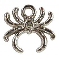 Medál, pók, műanyag, ezüst, 2x2,7 cm