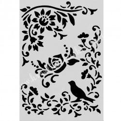 Stencil 277., virágos ágak madárral, 17,5x25 cm