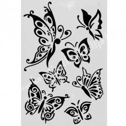 Stencil 279., pillangók, 17,5x25 cm