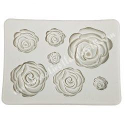 Szilikon öntőforma, rózsák, 8,5x6 cm