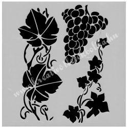 Stencil 271., szőlő és szőlőlevelek, 13 cm