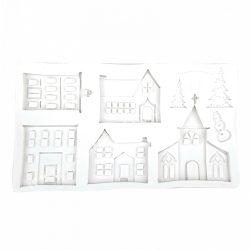 Szilikon mintázó, templom+fenyők