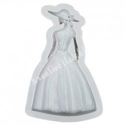 Szilikon öntőforma, dáma kalapban, 7,3x13,8 cm