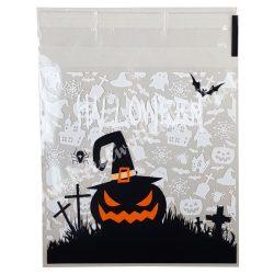 Celofán tasak, Halloween mintával, fehér, 10x13 cm