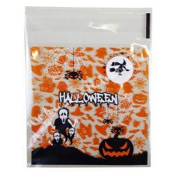 Celofán tasak, Halloween mintával, narancssárga, 10x13 cm