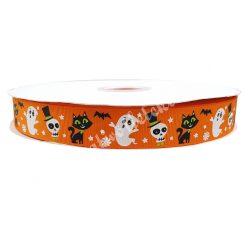 Halloween szalag 9., narancssárga alapon szellemek, koponyák, macskák