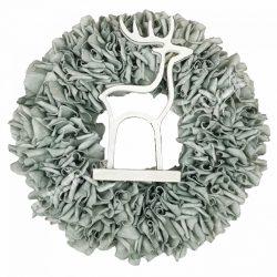 Akasztós dísz, polifoam koszorú, szarvassal, 30 cm