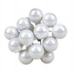 Betűzős üveggömb,  gyöngyházfehér, 12 db/csokor, 1,5 cm