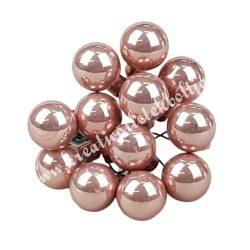 Betűzős üveggömb,  rosegold, 12 db/csokor, 1,5 cm