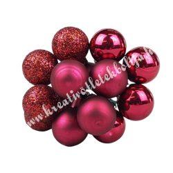Betűzős üveggömb,  burgundi vegyes, 12 db/csokor, 1,5 cm