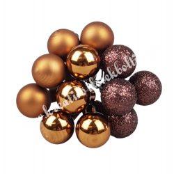 Betűzős üveggömb,  barna, 12 db/csokor, 1,5 cm