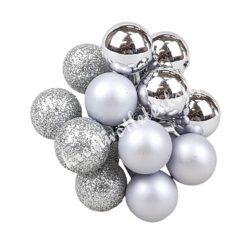 Betűzős üveggömb,  ezüst, 12 db/csokor, 1,5 cm