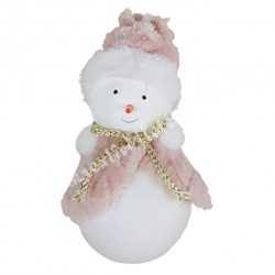 Akasztós hóember, rózsaszín, 6x12 cm