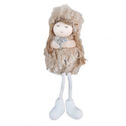Lógó lábú kislány szívvel, barna, 6x17 cm